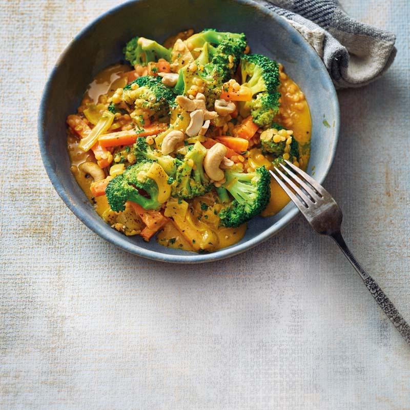 Foto av Linscurry med broccoli och morötter från WW ViktVäktarna