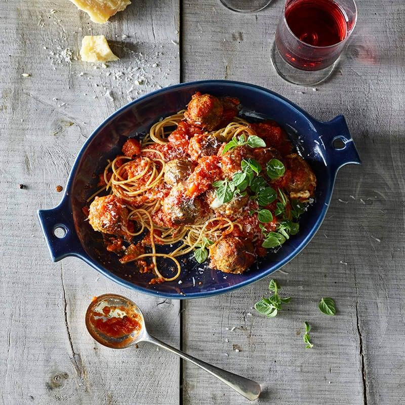 Foto av Spaghetti med mozzarellafyllda köttbullar och tomatsås från WW ViktVäktarna