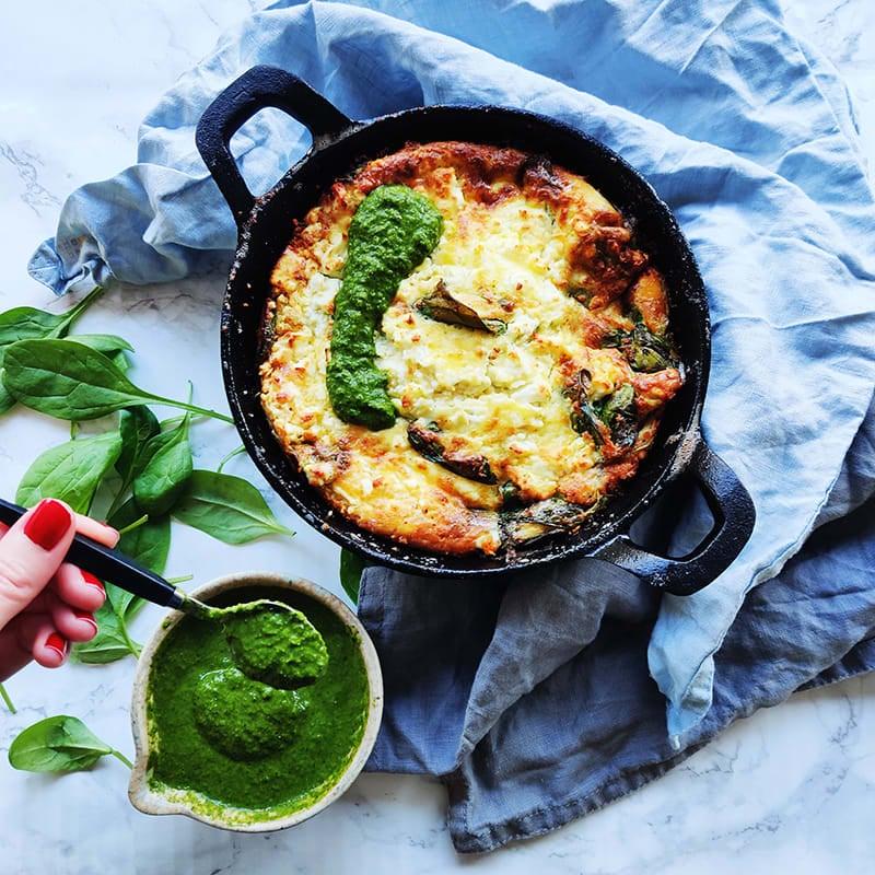 Foto av Pernilla Wahlgrens getostfrittata med salsa verde från WW ViktVäktarna