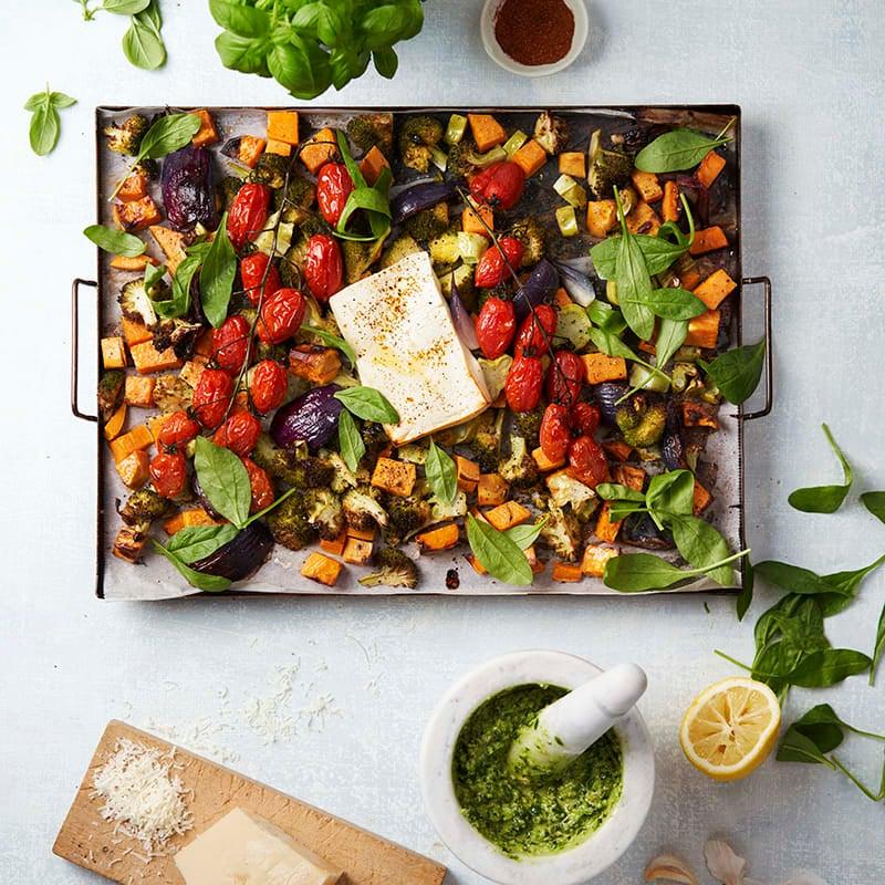 Foto av Rostade grönsaker och salladsost med pesto från WW ViktVäktarna