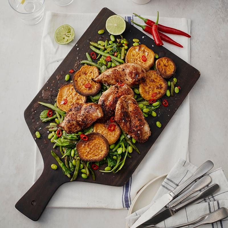Foto av Sesammarinerad kyckling med grillad sötpotatis från WW ViktVäktarna