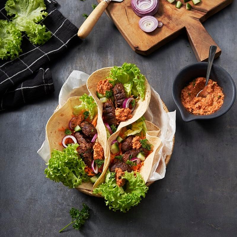 Foto av Tortillas med grillade sojafärsbiffar och muhammara från WW ViktVäktarna