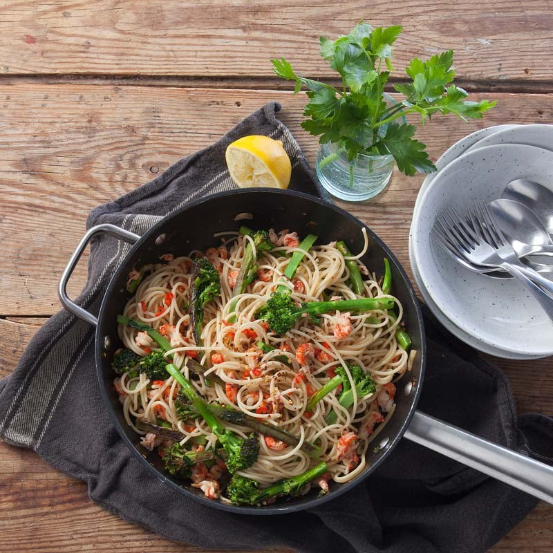 Foto av Spaghetti med vitlöksfrästa kräftstjärtar från WW ViktVäktarna