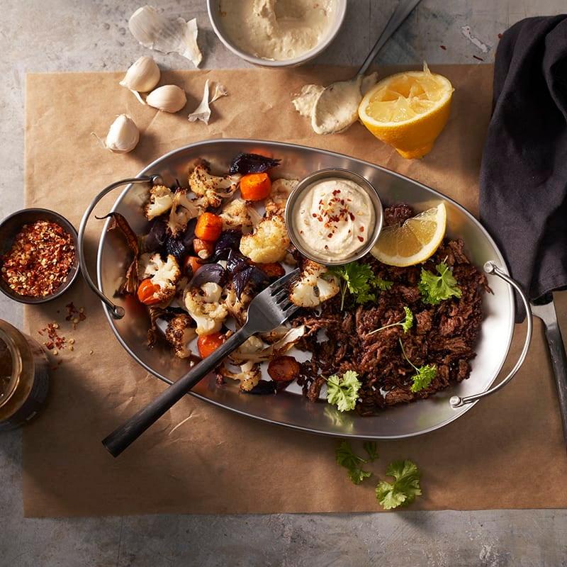 Foto av Kryddig färs med rostade grönsaker och hummus från WW ViktVäktarna