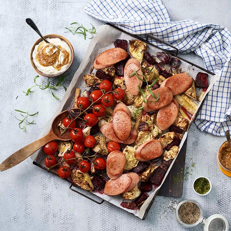 Foto av Korv med ugnsrostade grönsaker och senapssås från WW ViktVäktarna