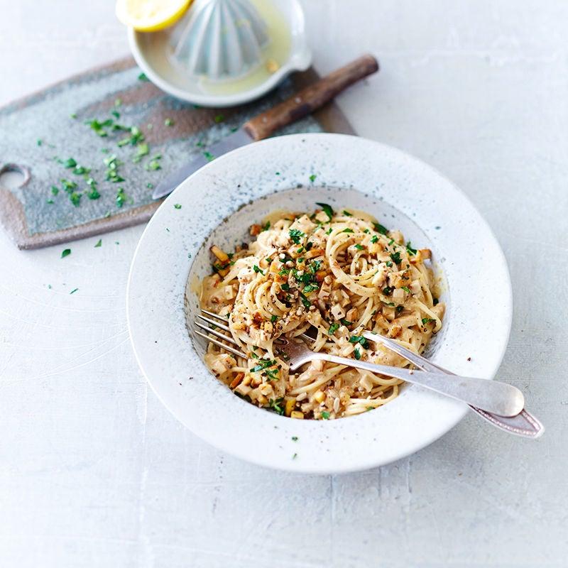 Foto av Vegansk spaghetti carbonara från WW ViktVäktarna
