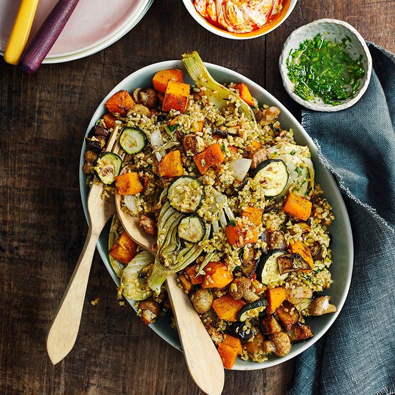 Foto av Freekehsallad med rostade grönsaker och harissasås från WW ViktVäktarna