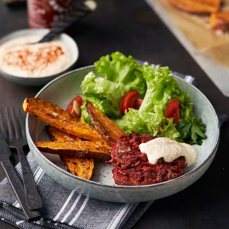 Foto av Grönsaksbiffar med sötpotatis och parmesansås från WW ViktVäktarna