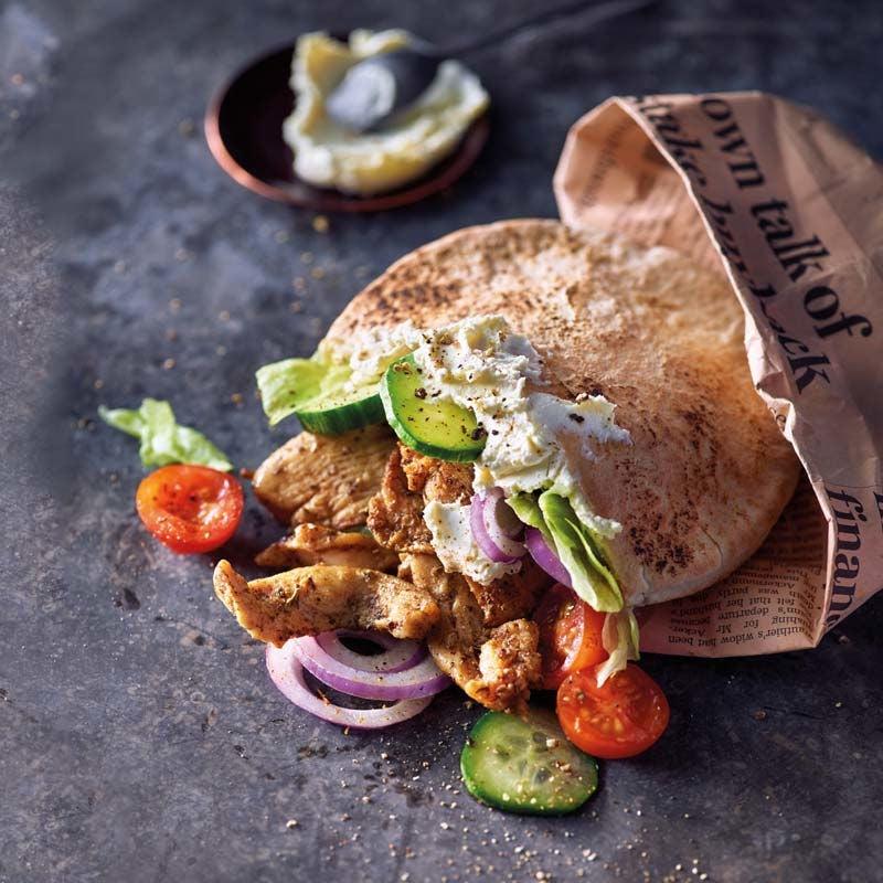 Foto av Kycklingkebab i pitabröd med vitlöksfärskost från WW ViktVäktarna